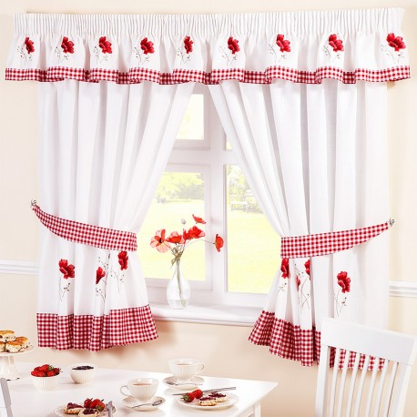 Poppies - perdele bucatarie set complet