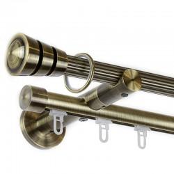 Corso - set galerie metalica dubla, teava striata si profil Aur Antic 19 mm