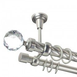Kula Crystal - set galerie dubla,teava Twister,prindere tavan, Crom Mat, 25/19 mm