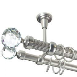 Kula Crystal Double- set galerie dubla, teava striata, prindere tavan, Crom Mat 25/19 mm