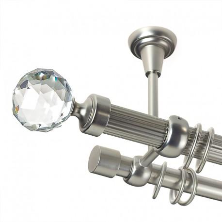 Kula Crystal - set galerie metalica dubla,teava striata,prindere tavan, Crom Mat, 25/19 mm