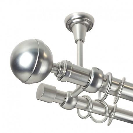 Kula Lux - set galerie dubla,prindere tavan, metalica Crom Mat 25/19 mm
