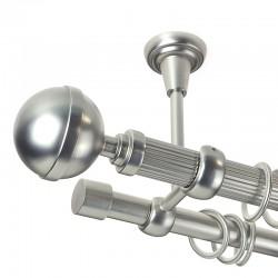 Kula Lux - set galerie metalica dubla,prindere tavan, teava Striata, Crom Mat 25/19 mm