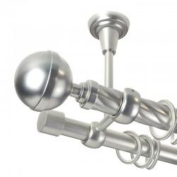 Kula Lux - set galerie metalica dubla,prindere tavan, teava Twister, Crom Mat 25/19 mm