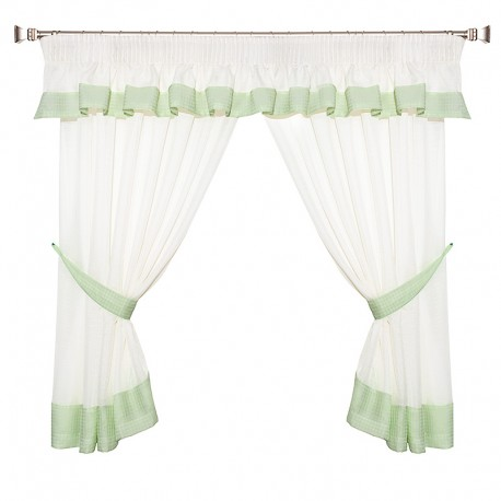 Green Plaid - set complet perdele bucatarie