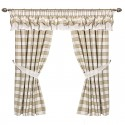 Beige Square Double Collar - set complet perdele bucatarie