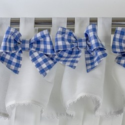 Bows Blue Square - set complet perdele bucatarie
