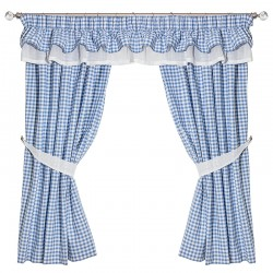 Gingham Bleu Double Collar - set complet perdele bucatarie