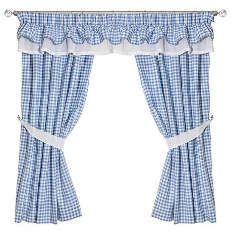 Gingham Bleu Double Collar - set complet perdele bucatarie