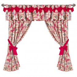 Bows Christmas Red- set complet perdele bucatarie