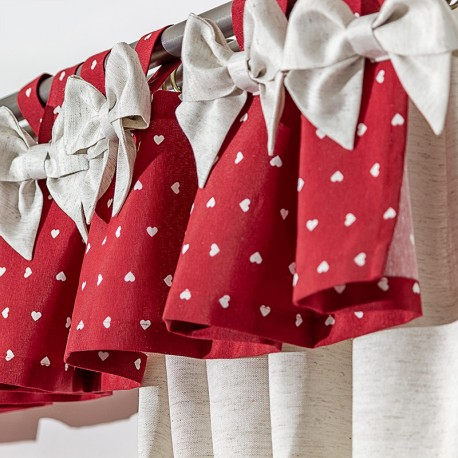 Bows Red Hearts - set complet perdele bucatarie
