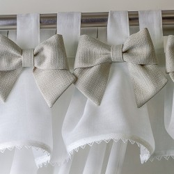 Bows Beige - set complet perdele bucatarie