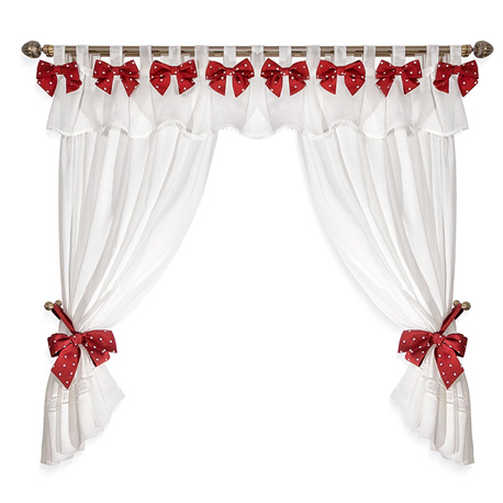 Bows Red White Hearts - set complet perdele bucatarie