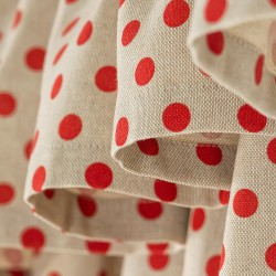 Dots Linen Red - set complet perdele bucatarie