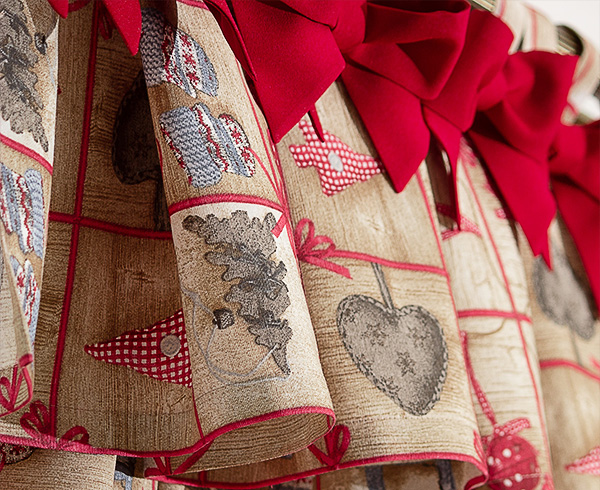 Draperie Cadru Bows Christmas Red cu funndite